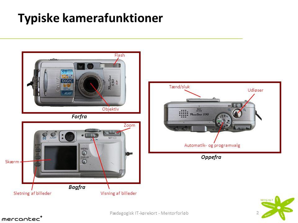Pædagogisk IT-kørekort - Mentorforløb 3 Kompaktkamera - Kendetegn Kendetegn:  Kompakt størrelse  Det billede, man ser i kameraets søger, er ikke helt identisk med det endelige billede, idet motivet ikke betragtes gennem kameraets objektiv  Mange automatiske funktioner  Lille billedsensor (ikke så lysfølsom)  Normalt ikke muligt at skifte objektivet Ser typisk gennem et selvstændigt objektiv