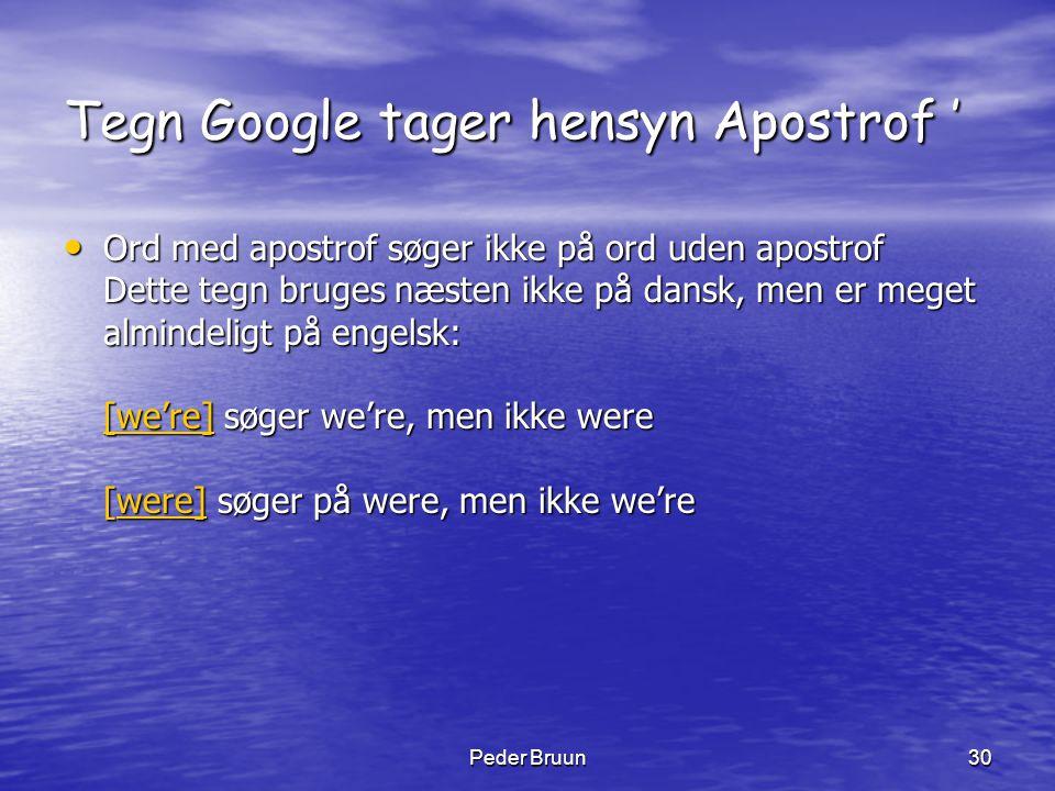 Peder Bruun30 Tegn Google tager hensyn Apostrof ' • Ord med apostrof søger ikke på ord uden apostrof Dette tegn bruges næsten ikke på dansk, men er me