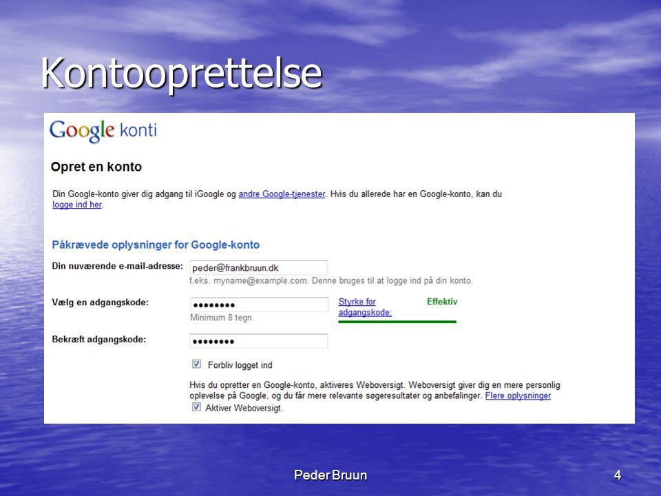 Peder Bruun55 Picasa installation • Besøg http://picasa.google.dk http://picasa.google.dk • Klik på Download Picasa 3 • Klik på Kør • Bekræft vilkårene, klik Accepterer • Klik til sidst på Afslut og • Picasa 3 er installeret og klar til brug