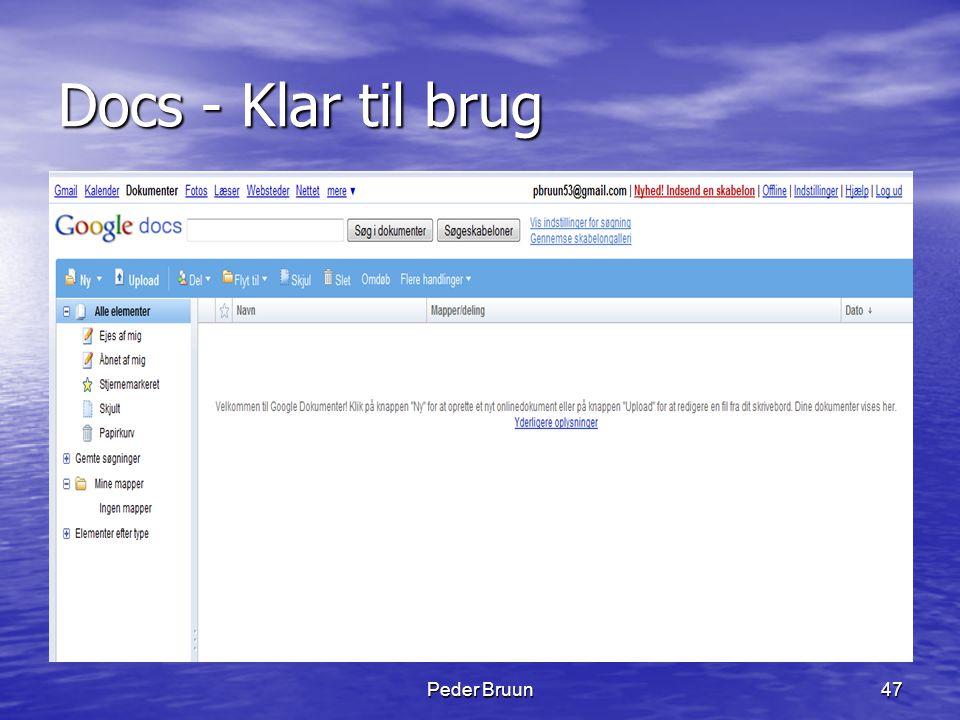 Peder Bruun47 Docs - Klar til brug