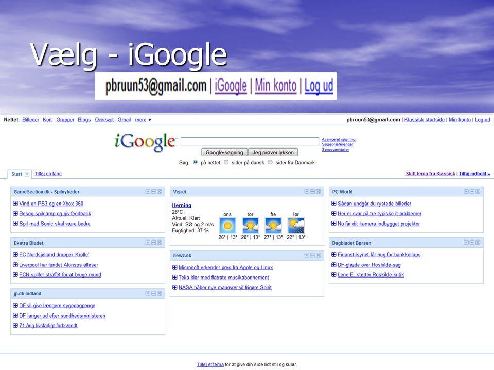 Peder Bruun9 Vælg - iGoogle