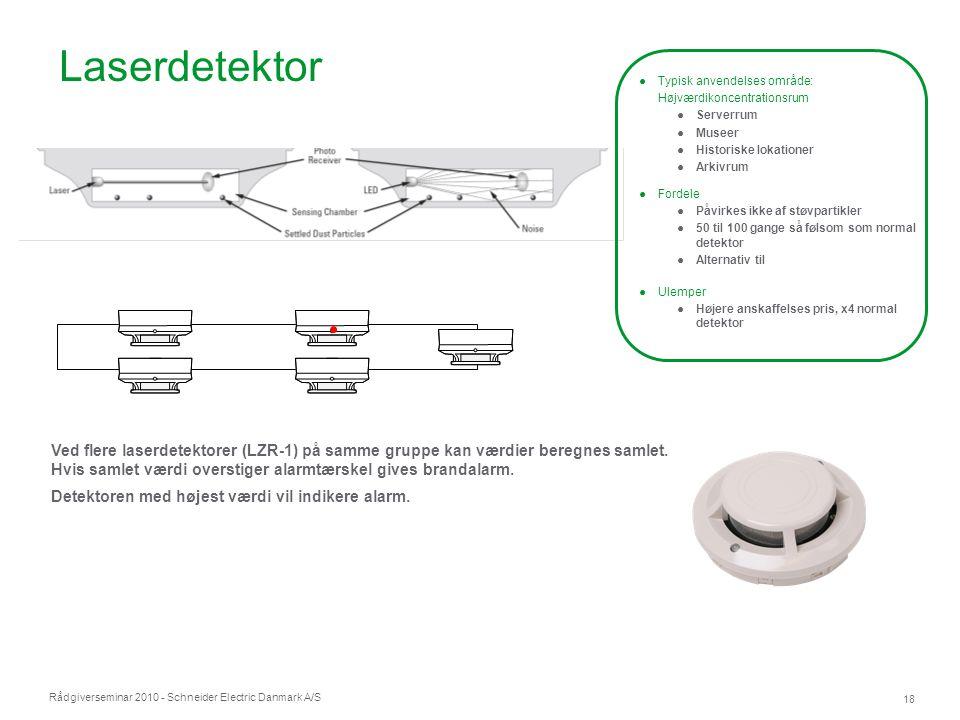 Rådgiverseminar 2010 - Schneider Electric Danmark A/S 18 Ved flere laserdetektorer (LZR-1) på samme gruppe kan værdier beregnes samlet. Hvis samlet væ