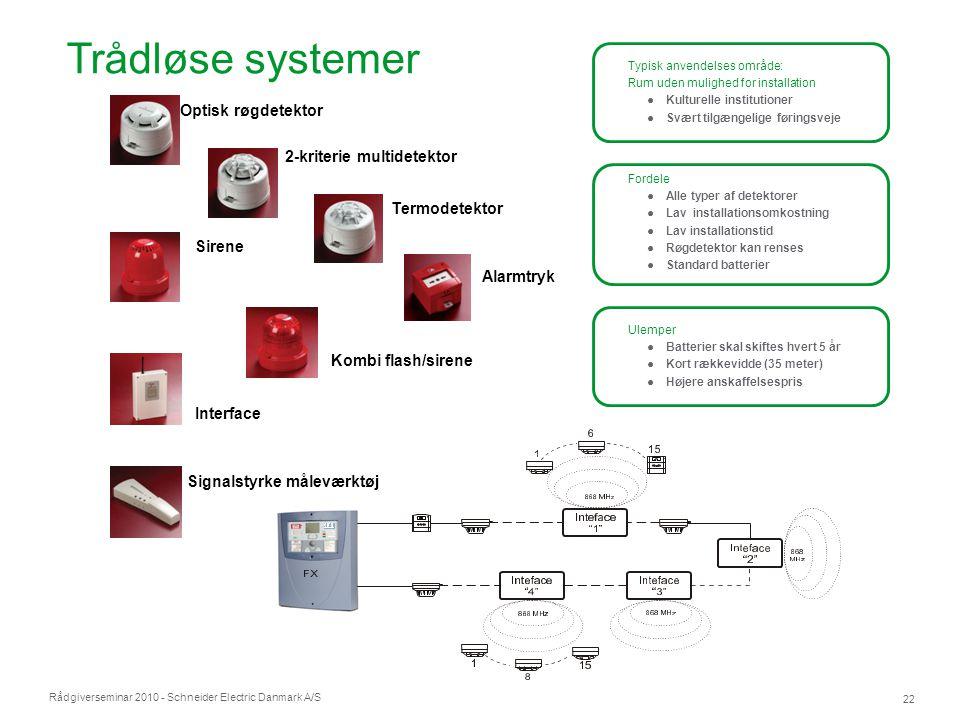 Rådgiverseminar 2010 - Schneider Electric Danmark A/S 22 Detektorer Trådløse systemer Typisk anvendelses område: Rum uden mulighed for installation ●K