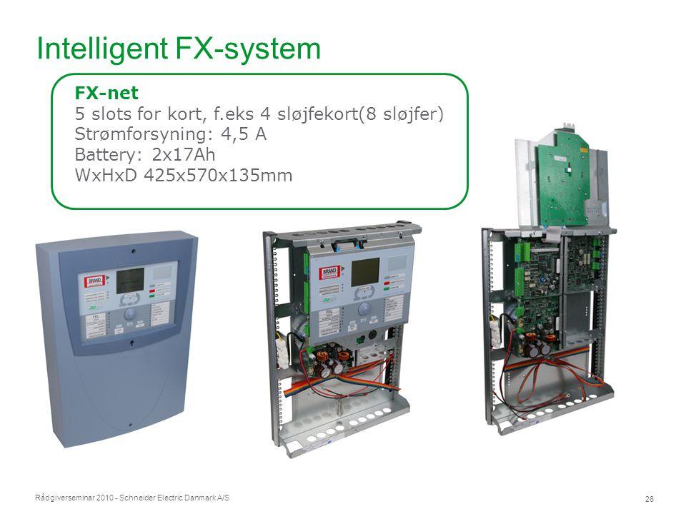 Rådgiverseminar 2010 - Schneider Electric Danmark A/S 26 Intelligent FX-system FX-net 5 slots for kort, f.eks 4 sløjfekort(8 sløjfer) Strømforsyning: