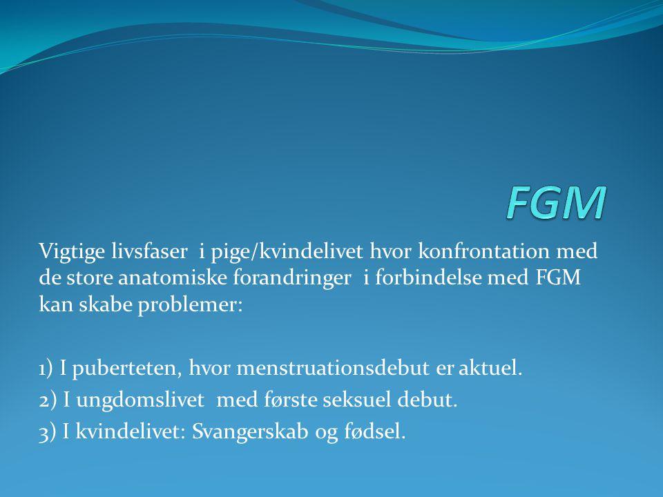 Vigtige livsfaser i pige/kvindelivet hvor konfrontation med de store anatomiske forandringer i forbindelse med FGM kan skabe problemer: 1) I pubertete