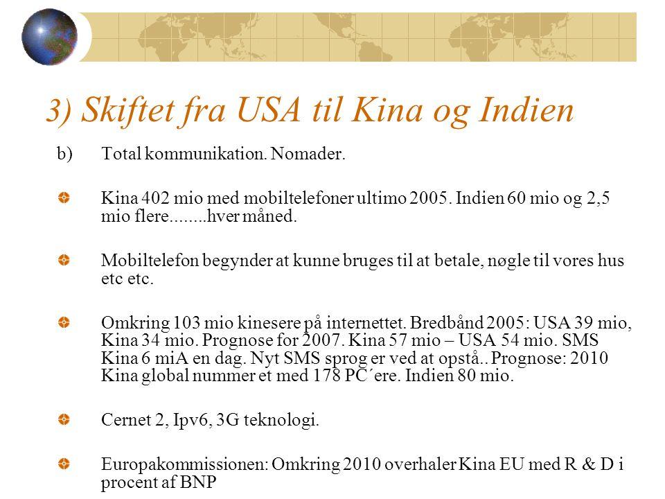 3) Skiftet fra USA til Kina og Indien b)Total kommunikation.