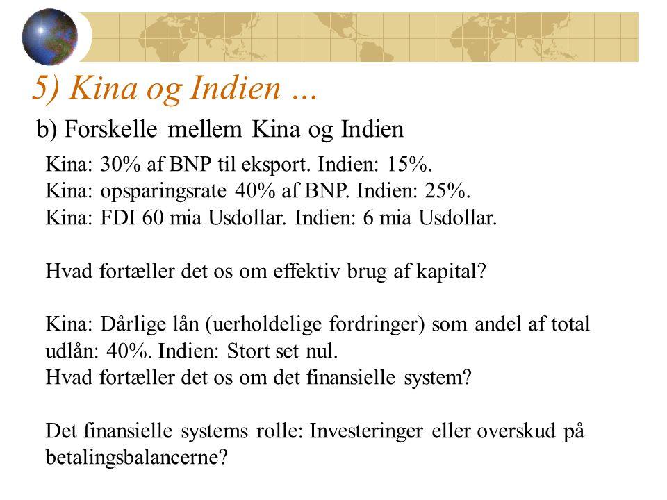 5) Kina og Indien … b) Forskelle mellem Kina og Indien Kina: 30% af BNP til eksport.