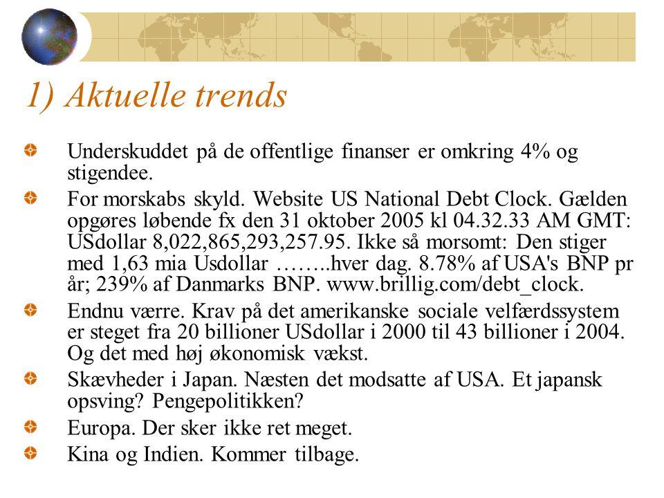 1) Aktuelle trends Underskuddet på de offentlige finanser er omkring 4% og stigendee.