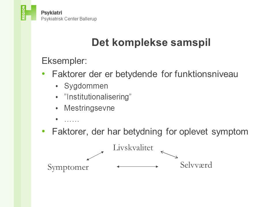 Psykiatrisk Center Ballerup Det komplekse samspil Eksempler: • Faktorer der er betydende for funktionsniveau • Sygdommen • Institutionalisering • Mestringsevne • …… • Faktorer, der har betydning for oplevet symptom Livskvalitet Symptomer Selvværd