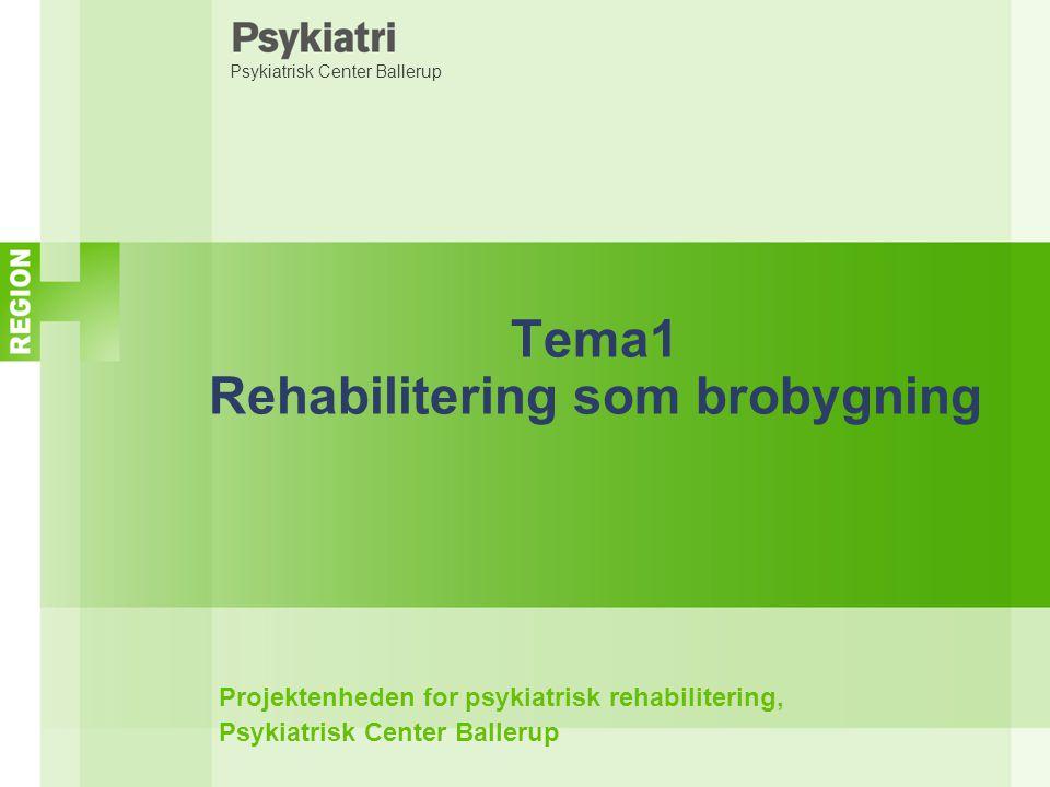 Psykiatrisk Center Ballerup Tema1 Rehabilitering som brobygning Projektenheden for psykiatrisk rehabilitering, Psykiatrisk Center Ballerup