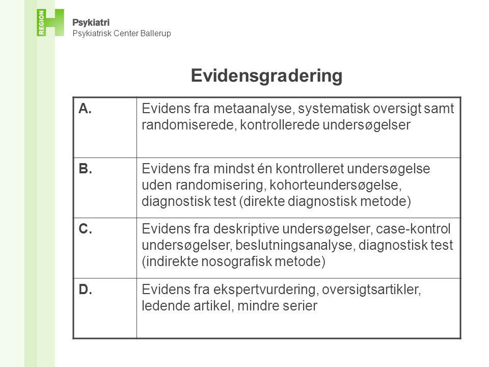 Psykiatrisk Center Ballerup Evidensgradering A.Evidens fra metaanalyse, systematisk oversigt samt randomiserede, kontrollerede undersøgelser B.Evidens fra mindst én kontrolleret undersøgelse uden randomisering, kohorteundersøgelse, diagnostisk test (direkte diagnostisk metode) C.Evidens fra deskriptive undersøgelser, case-kontrol undersøgelser, beslutningsanalyse, diagnostisk test (indirekte nosografisk metode) D.Evidens fra ekspertvurdering, oversigtsartikler, ledende artikel, mindre serier