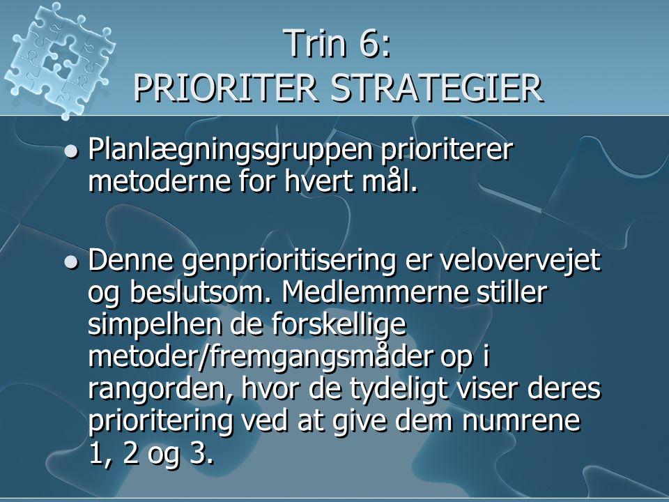 Trin 6: PRIORITER STRATEGIER  Planlægningsgruppen prioriterer metoderne for hvert mål.