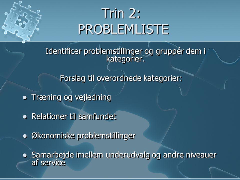 Trin 3: UDVIKLE MÅL  Smågrupperne udvikler mål for hver enkelt kategori.