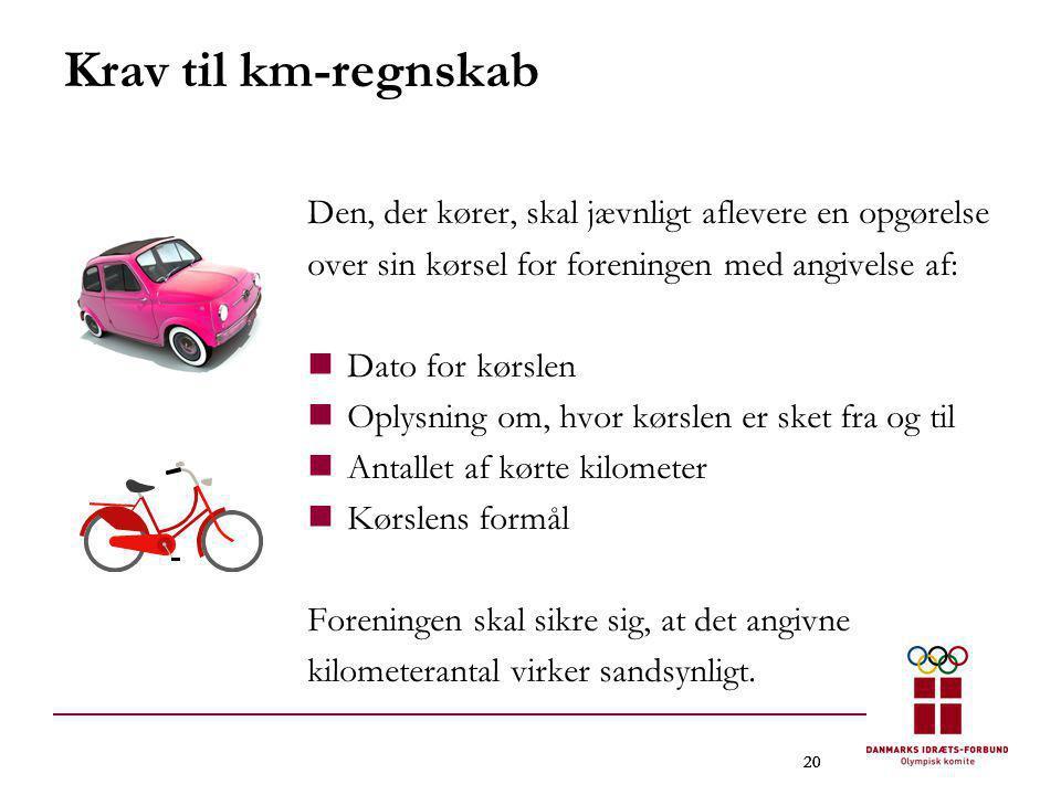 20 Krav til km-regnskab Den, der kører, skal jævnligt aflevere en opgørelse over sin kørsel for foreningen med angivelse af:  Dato for kørslen  Oply