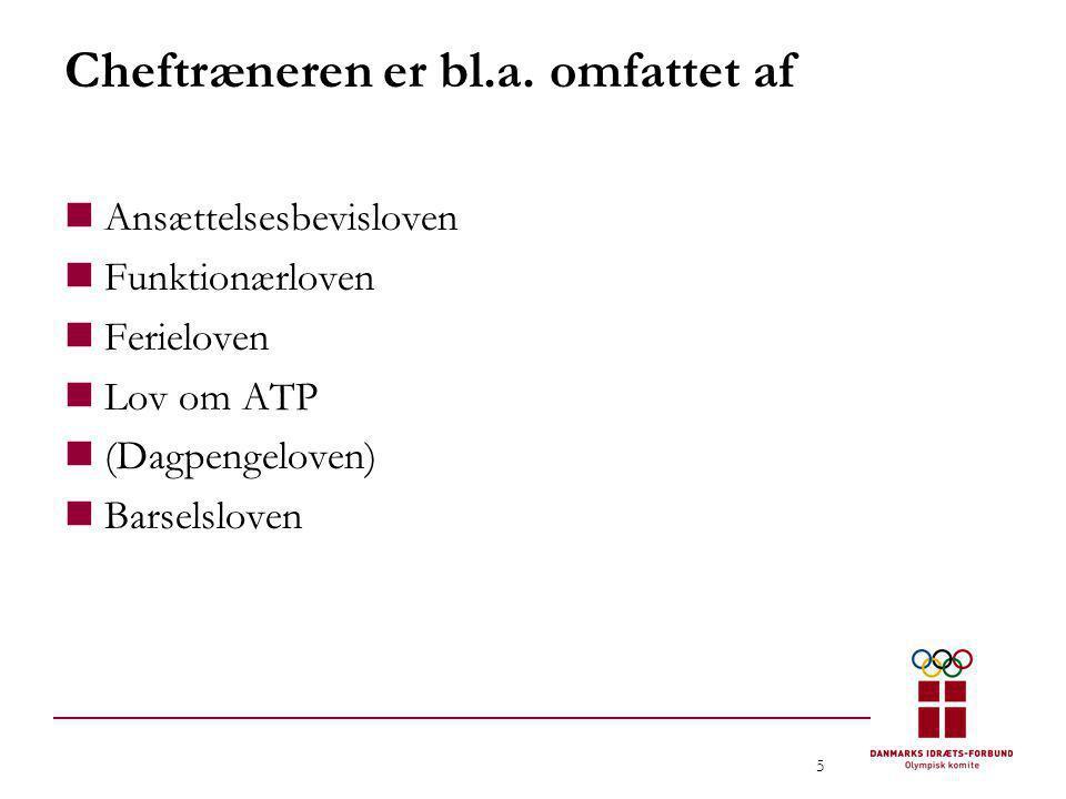 5 Cheftræneren er bl.a. omfattet af  Ansættelsesbevisloven  Funktionærloven  Ferieloven  Lov om ATP  (Dagpengeloven)  Barselsloven