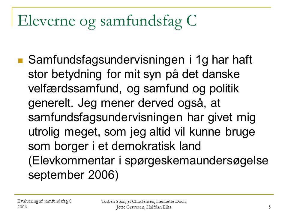 Evaluering af samfundsfag C 2006 Torben Spanget Christensen, Henriette Duch, Jette Gravesen, Halfdan Eika 26 Vurdering af lærerplankrav om tilrettelæggelse af undervisningen Læreplankrav til tilrettelæggelse Opfyldelse / hensigtsmæssighed stxhhxhtx Alsidighed i brug af metoder Opfyldelse 3,33,4 Hensigtsmæssighed3,63,44,0 Beregning: Gennemsnit af lærernes bedømmelse af hhv kravets hensigtsmæssighed og opfyldelse i egen undervisning på en skala fra 1 til 5, hvor 5 er udtryk for mest positiv bedømmelse af hensigtsmæssighed og for størst opfyldelse i egen undervisning.