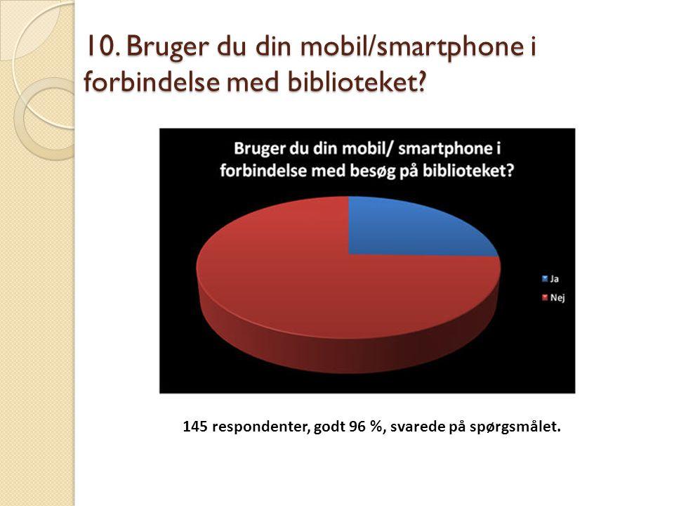 10. Bruger du din mobil/smartphone i forbindelse med biblioteket? 145 respondenter, godt 96 %, svarede på spørgsmålet.