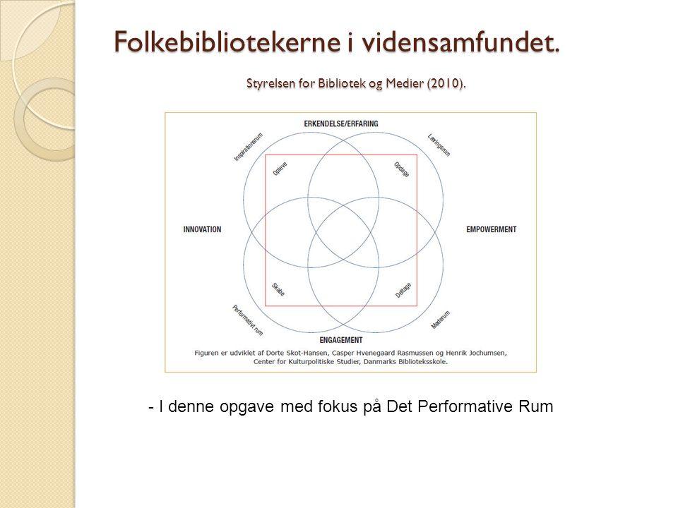Folkebibliotekerne i vidensamfundet. Styrelsen for Bibliotek og Medier (2010). - I denne opgave med fokus på Det Performative Rum