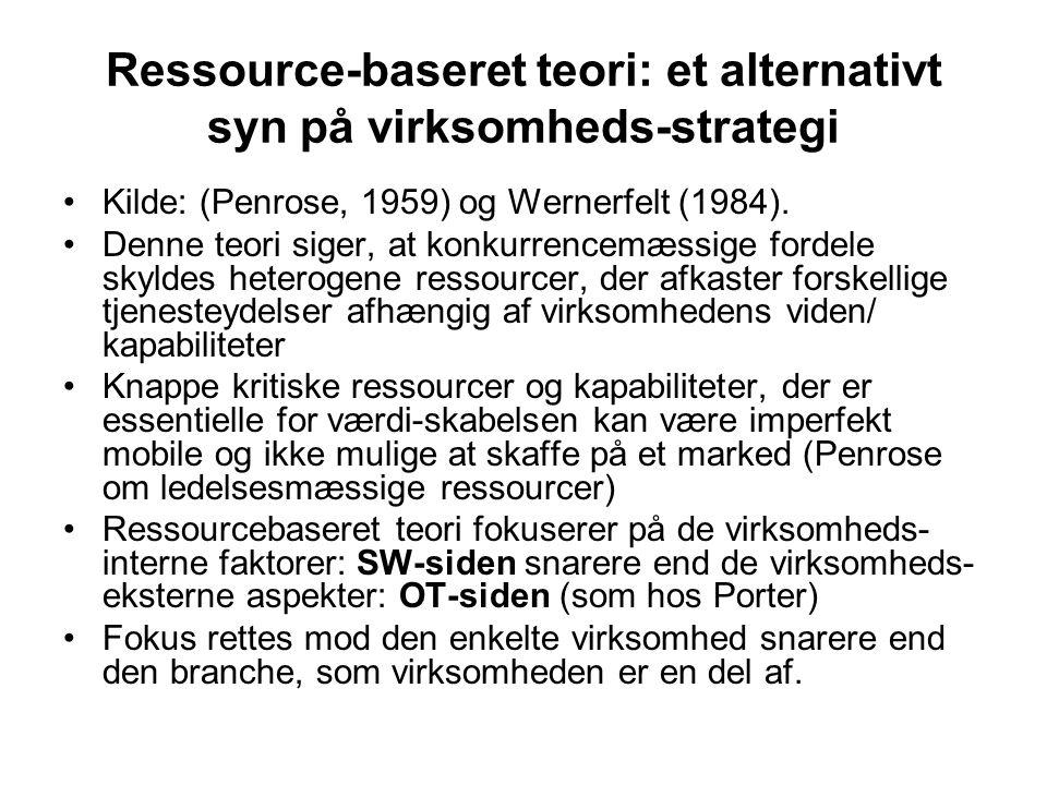 Ressource-baseret teori: et alternativt syn på virksomheds-strategi •Kilde: (Penrose, 1959) og Wernerfelt (1984).