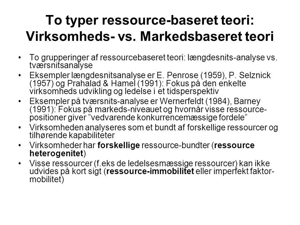 To typer ressource-baseret teori: Virksomheds- vs.