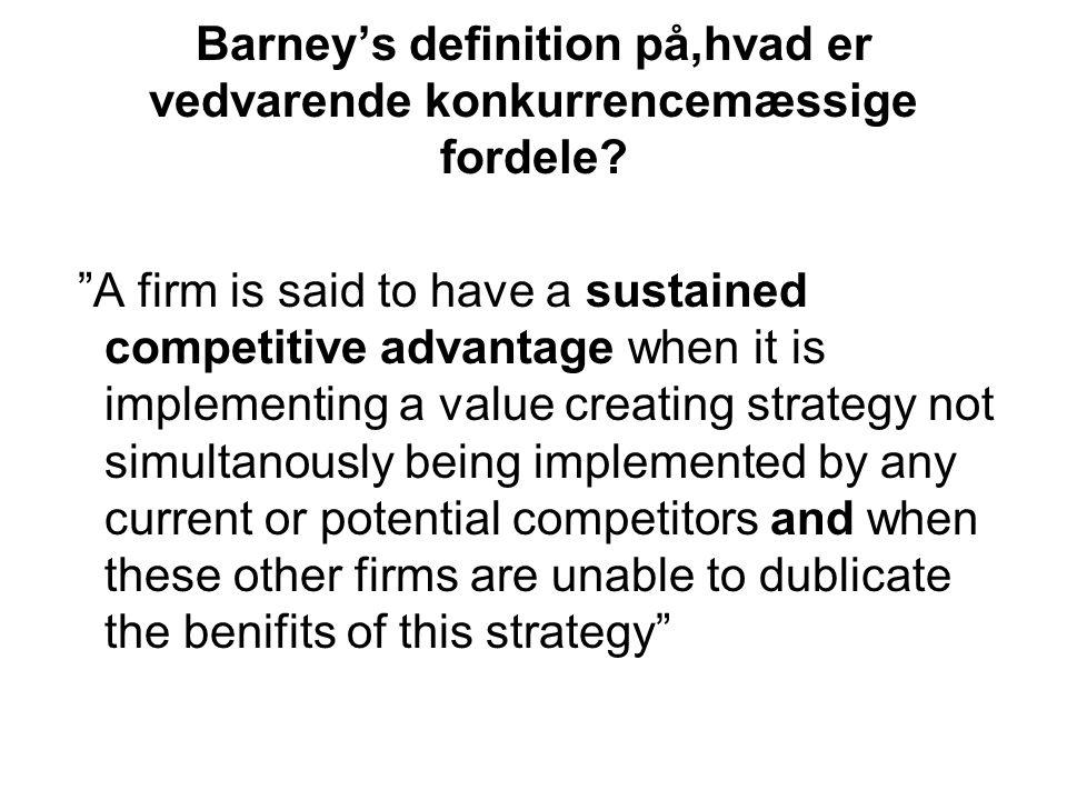 Barney's definition på,hvad er vedvarende konkurrencemæssige fordele.