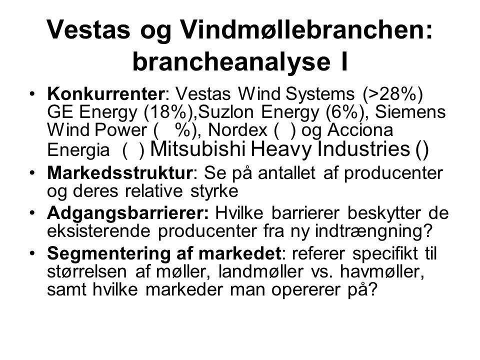 Vestas og Vindmøllebranchen: brancheanalyse I •Konkurrenter: Vestas Wind Systems (>28%) GE Energy (18%),Suzlon Energy (6%), Siemens Wind Power ( %), Nordex ( ) og Acciona Energia ( ) Mitsubishi Heavy Industries () •Markedsstruktur: Se på antallet af producenter og deres relative styrke •Adgangsbarrierer: Hvilke barrierer beskytter de eksisterende producenter fra ny indtrængning.