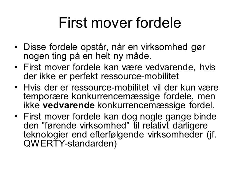 First mover fordele •Disse fordele opstår, når en virksomhed gør nogen ting på en helt ny måde.