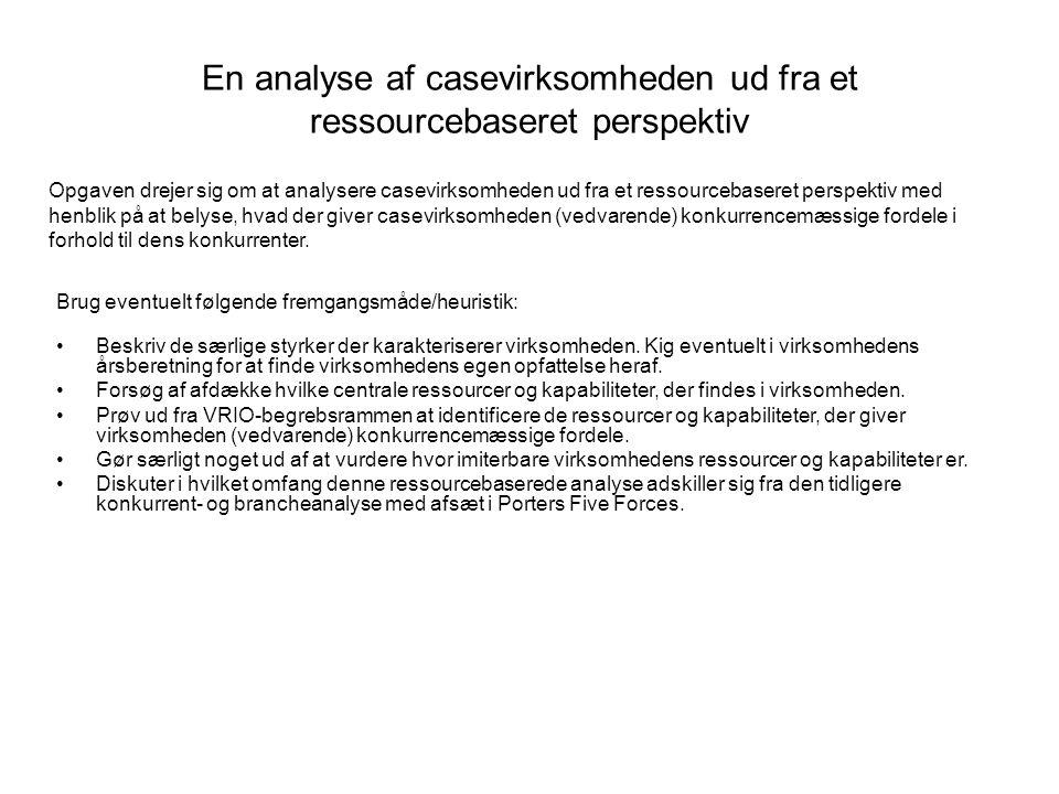 En analyse af casevirksomheden ud fra et ressourcebaseret perspektiv Brug eventuelt følgende fremgangsmåde/heuristik: •Beskriv de særlige styrker der karakteriserer virksomheden.