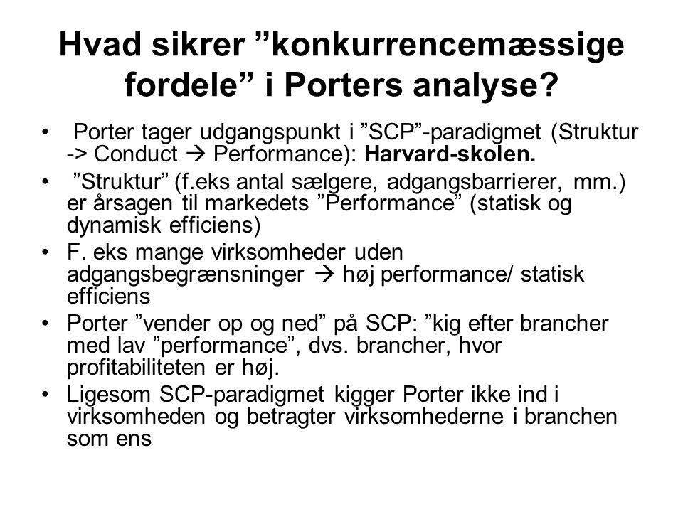 Hvad sikrer konkurrencemæssige fordele i Porters analyse.