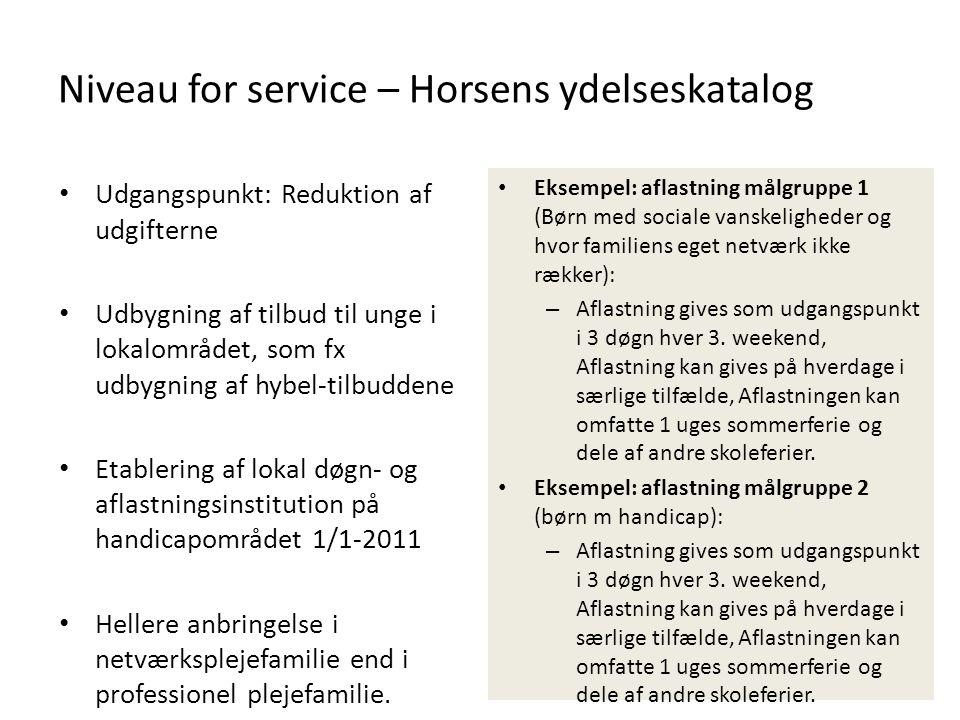 Niveau for service – Horsens ydelseskatalog • Udgangspunkt: Reduktion af udgifterne • Udbygning af tilbud til unge i lokalområdet, som fx udbygning af