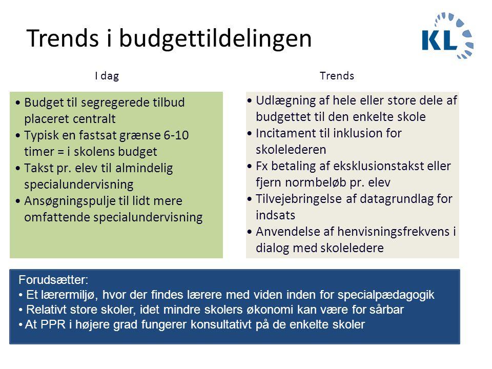 Trends i budgettildelingen •Budget til segregerede tilbud placeret centralt •Typisk en fastsat grænse 6-10 timer = i skolens budget •Takst pr. elev ti