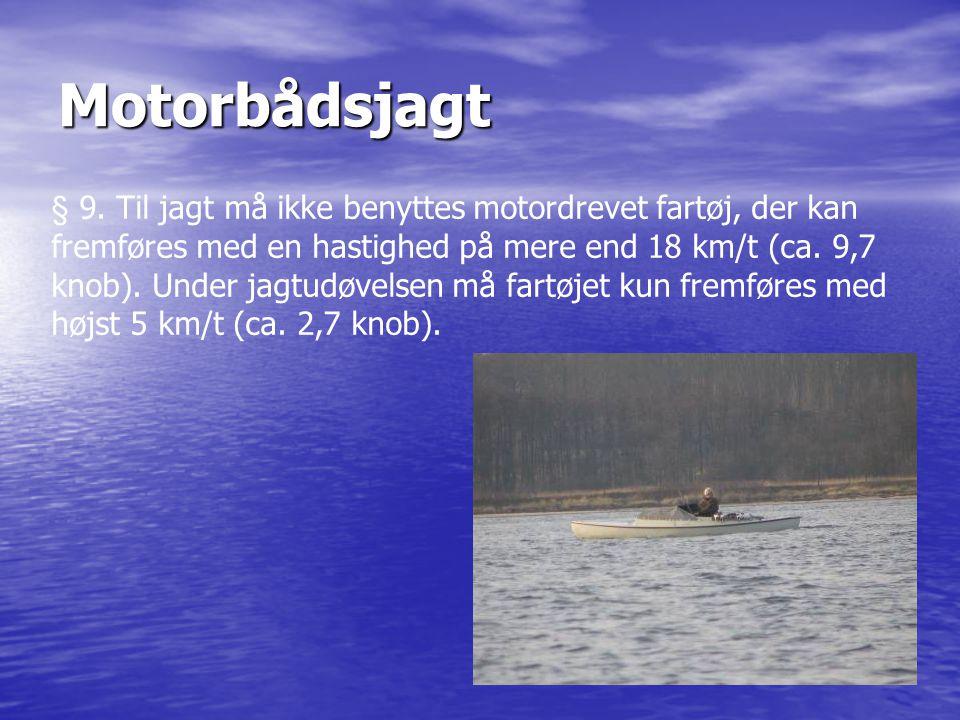 Motorbådsjagt § 9. Til jagt må ikke benyttes motordrevet fartøj, der kan fremføres med en hastighed på mere end 18 km/t (ca. 9,7 knob). Under jagtudøv