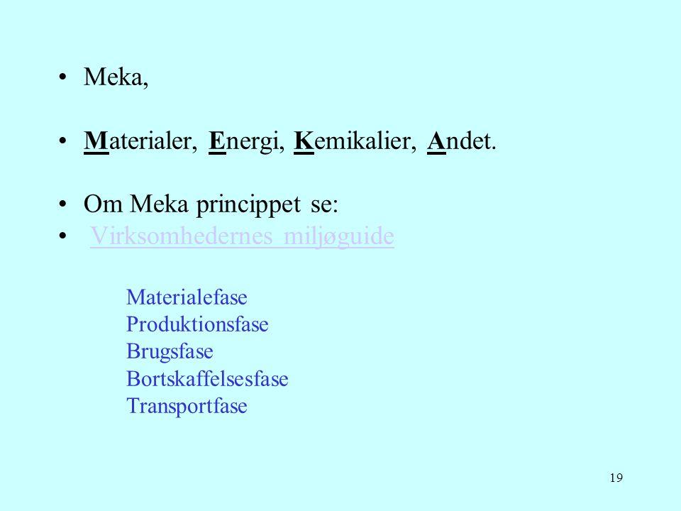 19 •Meka, •Materialer, Energi, Kemikalier, Andet. •Om Meka princippet se: • Virksomhedernes miljøguideVirksomhedernes miljøguide Materialefase Produkt