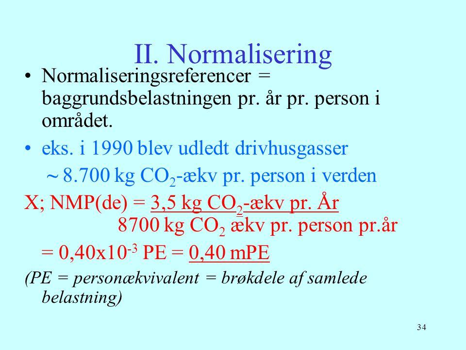 34 II. Normalisering •Normaliseringsreferencer = baggrundsbelastningen pr. år pr. person i området. •eks. i 1990 blev udledt drivhusgasser ~ 8.700 kg