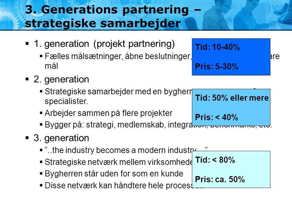 3. Generations partnering – strategiske samarbejder  1. generation (projekt partnering)  Fælles målsætninger, åbne beslutninger, konfliktløsning, må