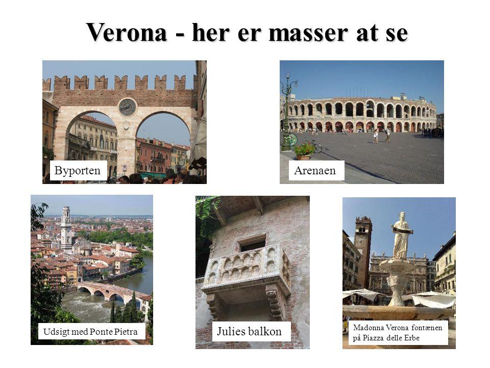Verona - her er masser at se Udsigt med Ponte Pietra ArenaenByporten Julies balkon Madonna Verona fontænen på Piazza delle Erbe
