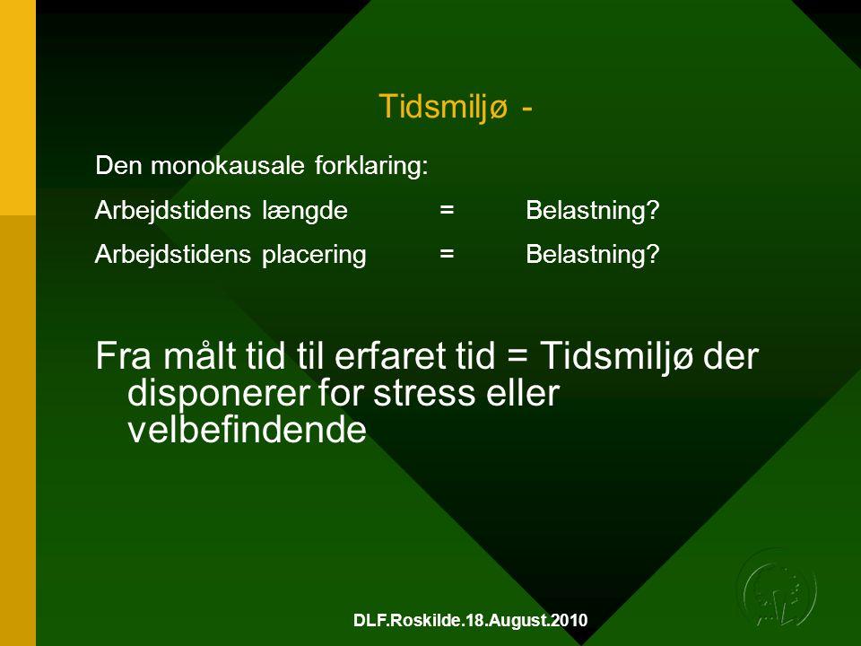 DLF.Roskilde.18.August.2010 Tidsmiljø - Den monokausale forklaring: Arbejdstidens længde =Belastning.