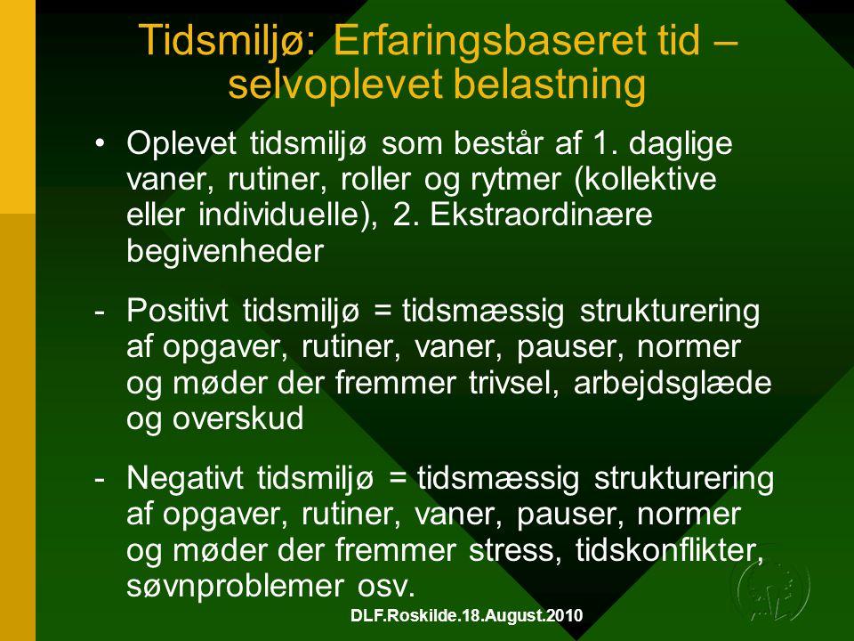 DLF.Roskilde.18.August.2010 Tidsmiljø: Erfaringsbaseret tid – selvoplevet belastning •Oplevet tidsmiljø som består af 1.
