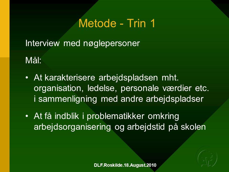 DLF.Roskilde.18.August.2010 Metode - Trin 1 Interview med nøglepersoner Mål: •At karakterisere arbejdspladsen mht.