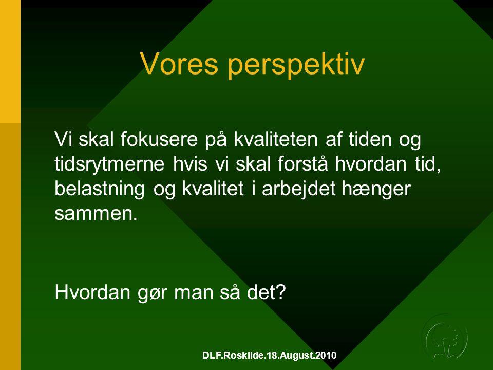DLF.Roskilde.18.August.2010 Vores perspektiv Vi skal fokusere på kvaliteten af tiden og tidsrytmerne hvis vi skal forstå hvordan tid, belastning og kvalitet i arbejdet hænger sammen.