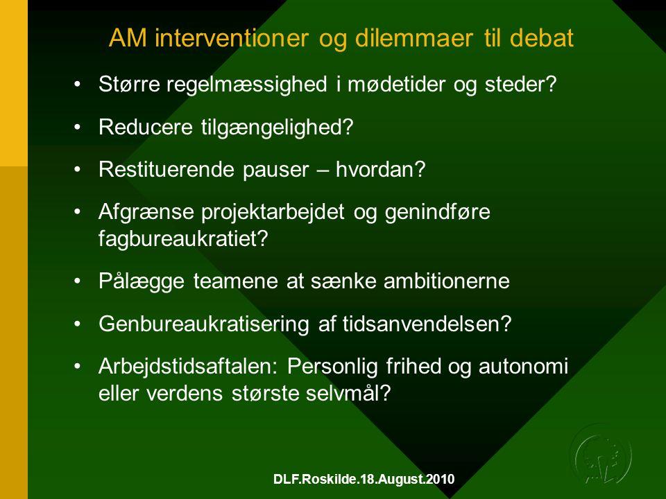 DLF.Roskilde.18.August.2010 AM interventioner og dilemmaer til debat •Større regelmæssighed i mødetider og steder.