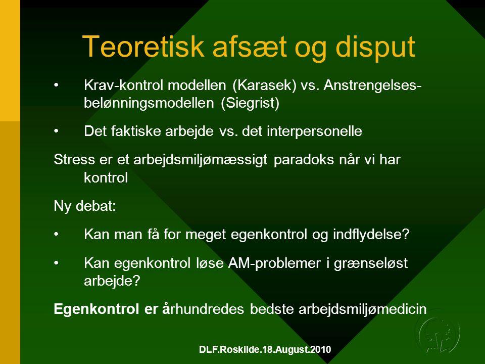 DLF.Roskilde.18.August.2010 Teoretisk afsæt og disput •Krav-kontrol modellen (Karasek) vs.
