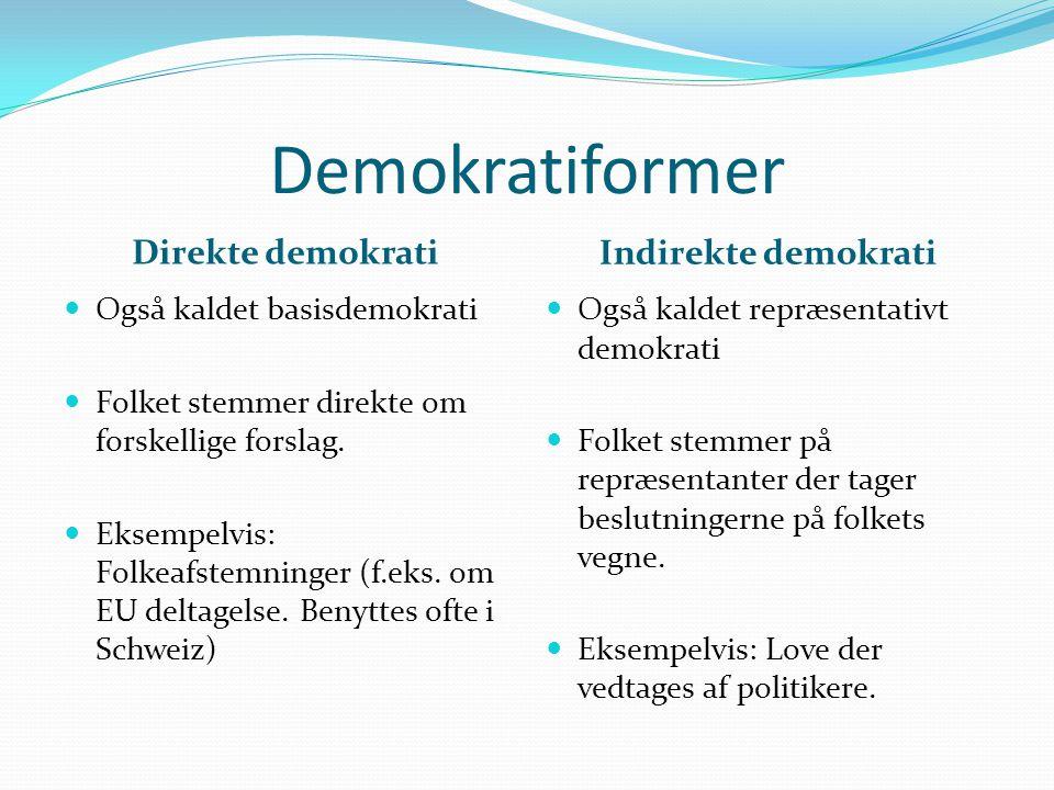 Demokratiformer Direkte demokrati Indirekte demokrati  Også kaldet basisdemokrati  Folket stemmer direkte om forskellige forslag.  Eksempelvis: Fol