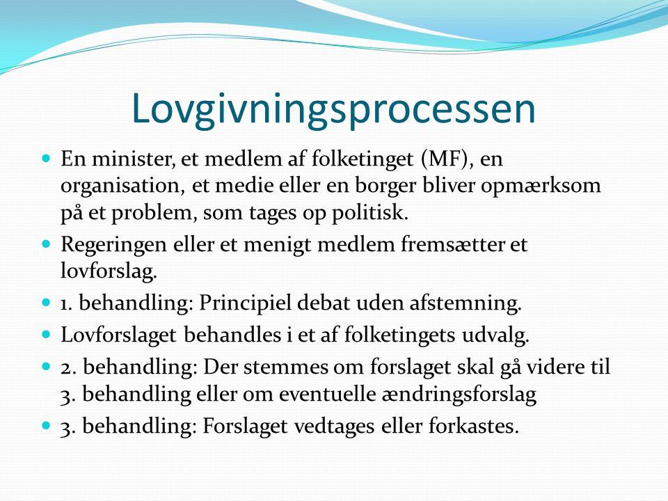 Lovgivningsprocessen  En minister, et medlem af folketinget (MF), en organisation, et medie eller en borger bliver opmærksom på et problem, som tages