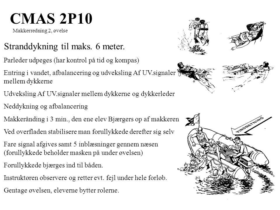 CMAS 2P10 Makkerredning 2, øvelse Stranddykning til maks.