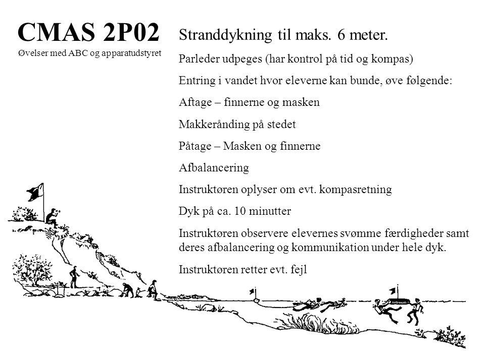 CMAS 2P02 Øvelser med ABC og apparatudstyret Stranddykning til maks.