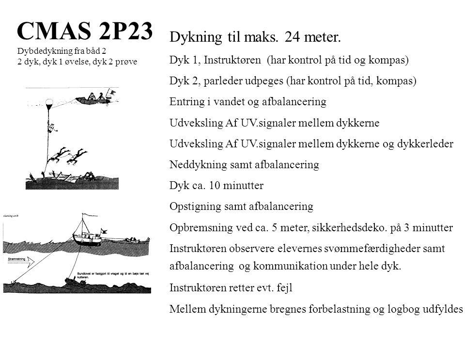 CMAS 2P23 Dybdedykning fra båd 2 2 dyk, dyk 1 øvelse, dyk 2 prøve Dykning til maks.