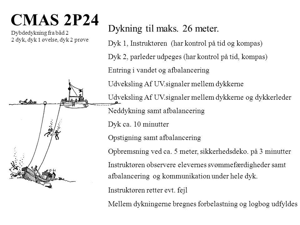 CMAS 2P24 Dybdedykning fra båd 2 2 dyk, dyk 1 øvelse, dyk 2 prøve Dykning til maks.
