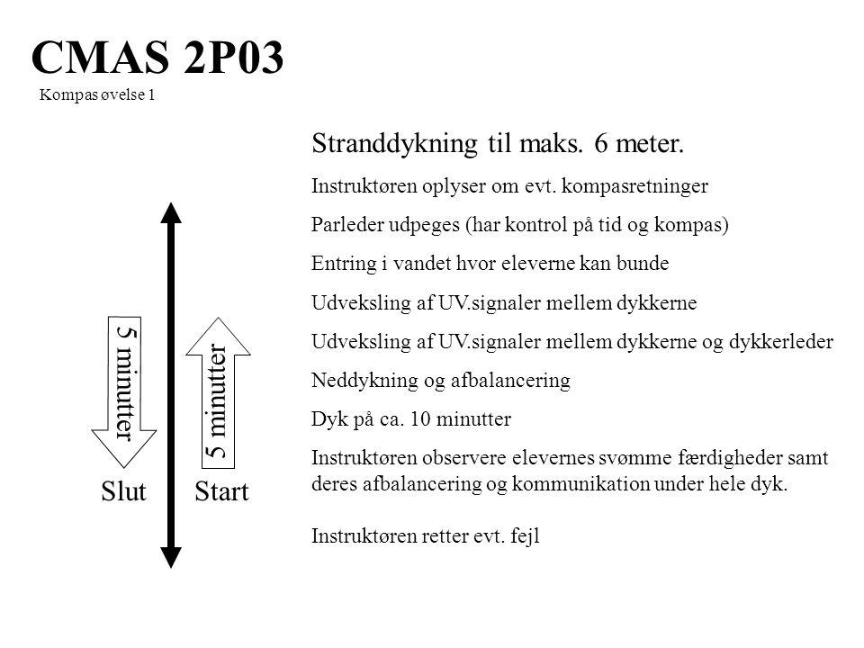 5 minutter StartSlut CMAS 2P03 Kompas øvelse 1 Stranddykning til maks.