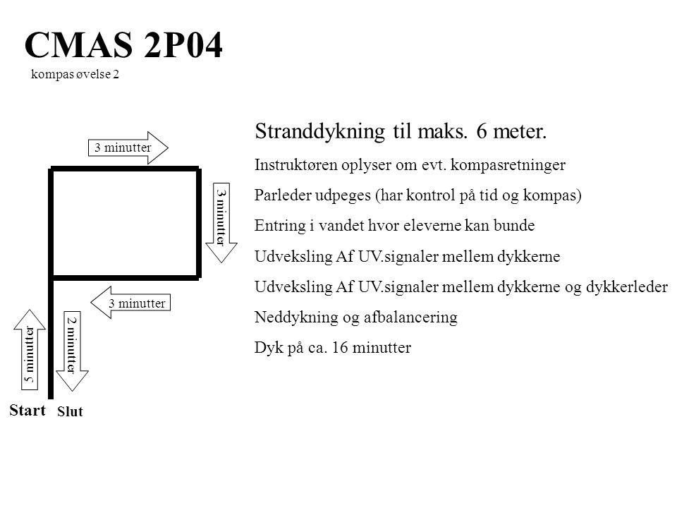 Start CMAS 2P04 kompas øvelse 2 Stranddykning til maks.